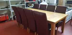 Solid oak large Dining table and 8 High back Chairs