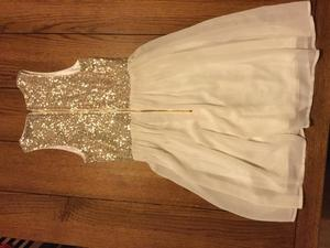Girls cream and gold party dress age 9