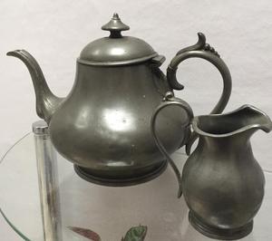 Vintage Pewter Tea Pot and matching Milk Jug