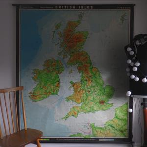 Vintage school wall map of the British Isles