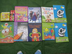 Nine Brand New Colouring Books, 64 Wax Crayons and 6 Fibre Tip Pens for ONLY £5.00