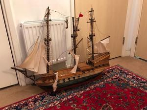 Vintage Handmade Wooden Large Sailing Ship (Handmade Gallion)