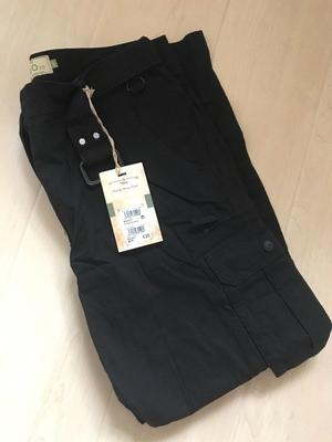 BRAND NEW WITH TAGS MENS NEXT BLACK BELTED CARGO COMBAT TROUSERS (SIZE 34S)