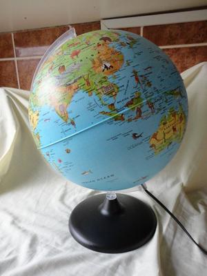 LARGE WORLD GLOBE (LAMP) BLUE