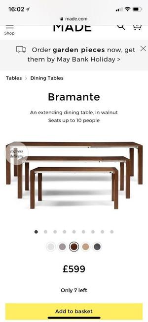 Bramante Extending Dining Table from Made - brand new in the box