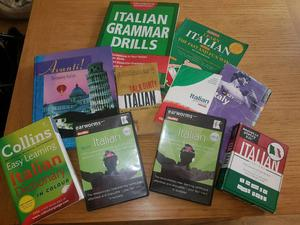 Learn Italian! Collection of books and audio cds.