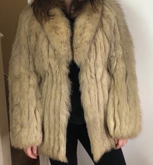 Real blue fox fur coat