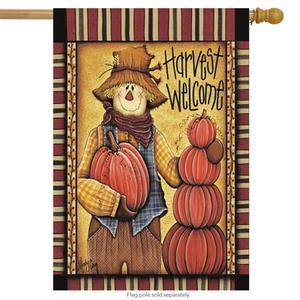 """Harvest Welcome Fall House Flag Scarecrow Pumpkins 28"""" x 40"""""""