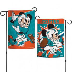 Miami Dolphins 2-Sided Mickey Mouse NFL Garden Flag Licensed