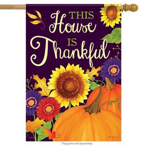 This House if Thankful Fall House Flag Pumpkin Sunflower