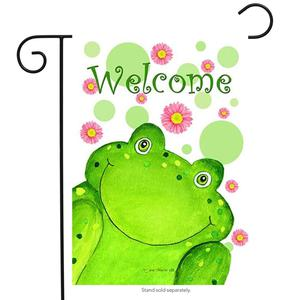 Welcome Frog Garden Flag Spring Made in the USA by Custom