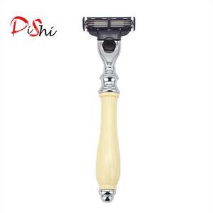 Dishi 10 pcs Triple blade white handle razor with holder