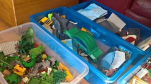 Playmobil 4 boxes: farm house, farm, stable and zoo.