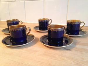 Art Deco Crown Devon Coffee Cups and Saucers