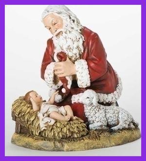 "13"" Kneeling Santa W Lamb Figurine CHRISTMAS DECOR RED Home"