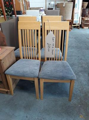 Lovely Set of Four Kitchen Dining Chairs With Grey Padded
