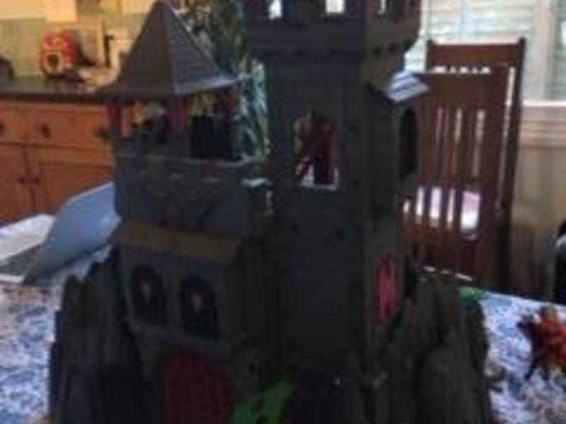 Playmobil castle with eight figures, horses, furniture,
