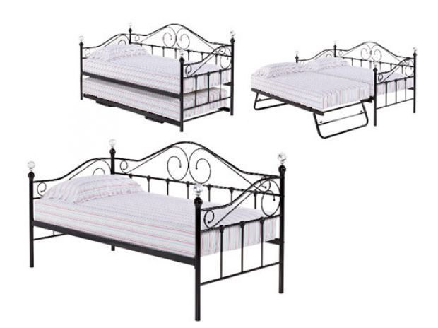 new, metal bed, sofa bed, with mattress x 2, crystals, £249