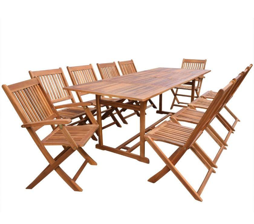 vidaXL 11 Piece Outdoor Dining Set Acacia Wood  New