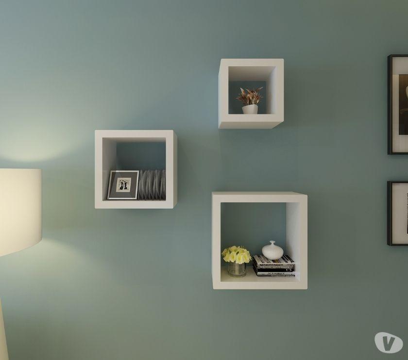 vidaXL Cube shelf set of 3 white - Free Delivery i New