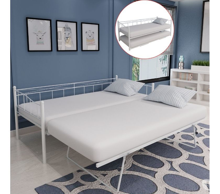 vidaXL Day Bed Only Frame Steel White  New