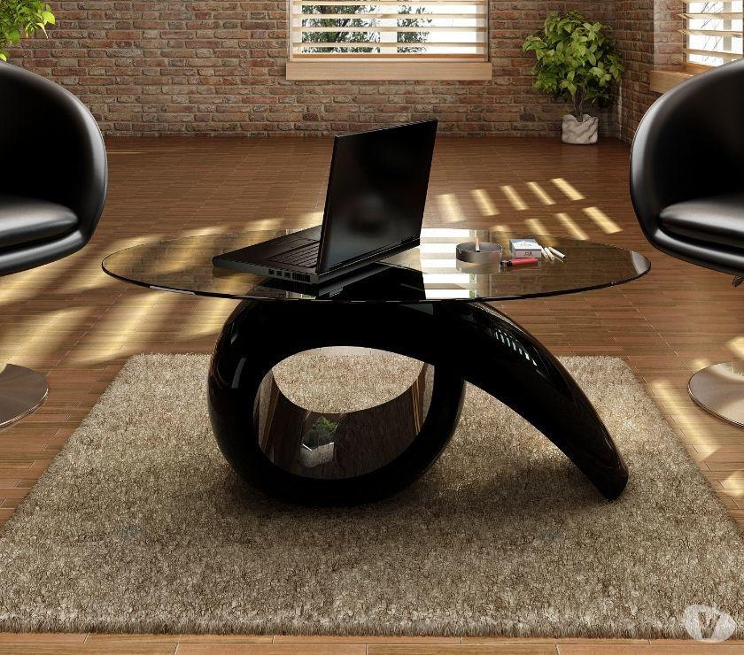 vidaXL Glass Top Coffee Table High Gloss Black  New