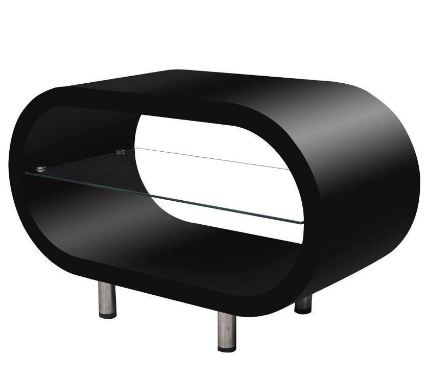 vidaXL High Gloss Black Coffee TableTV Stand Oval New