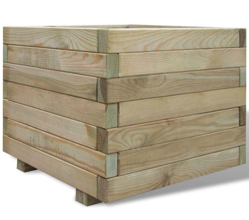 vidaXL Planter Square 50 x 50 x 40 cm Wood  New