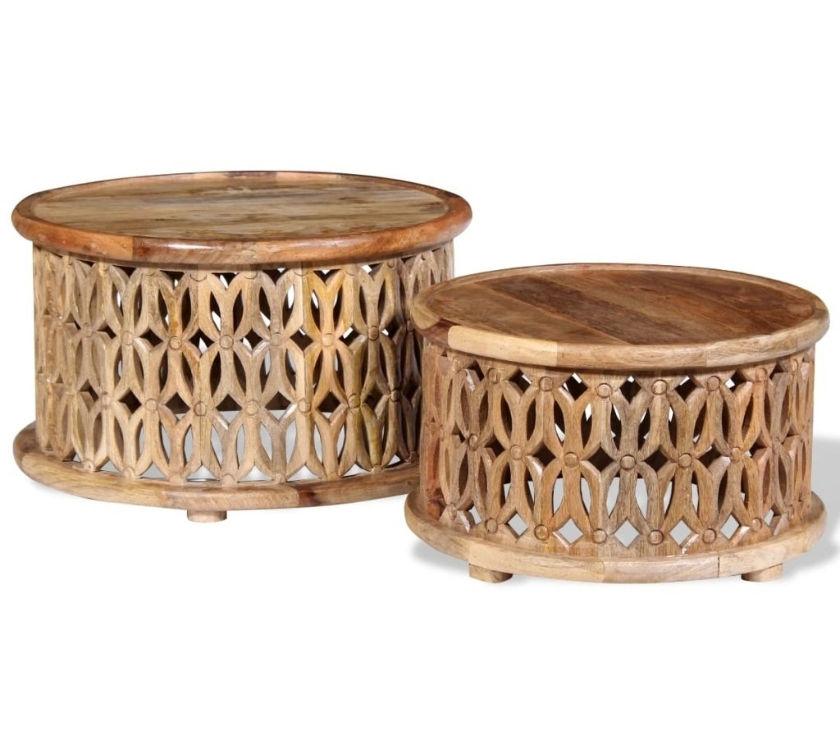 vidaXL Two Piece Coffee Table Set Solid Mango Wood New