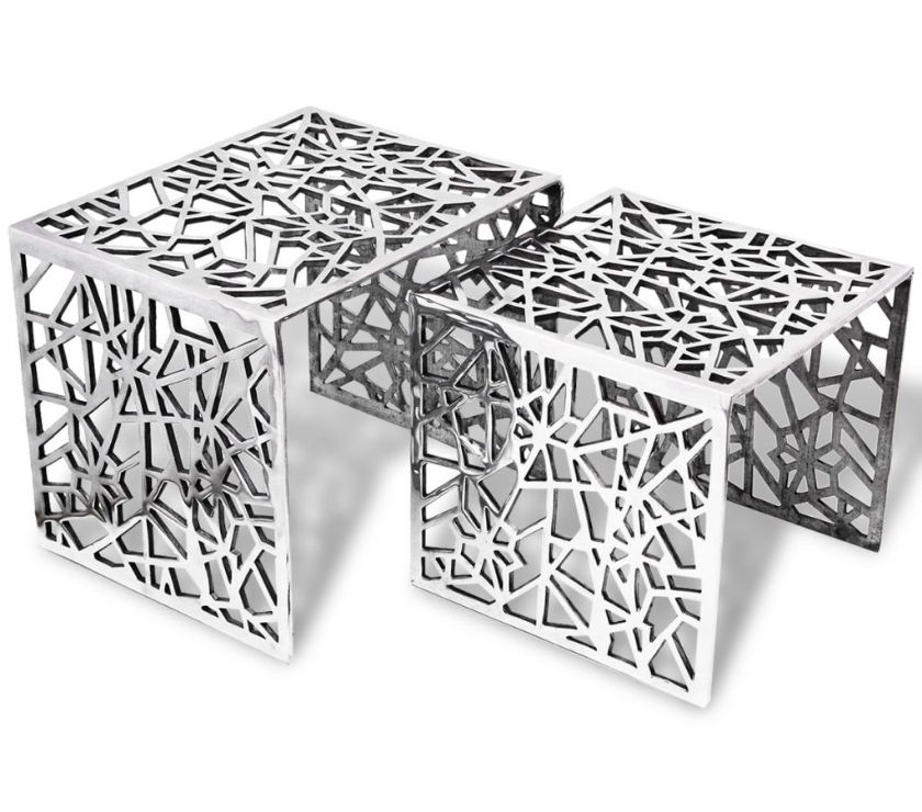vidaXL Two Piece Side Tables Square Aluminium  New