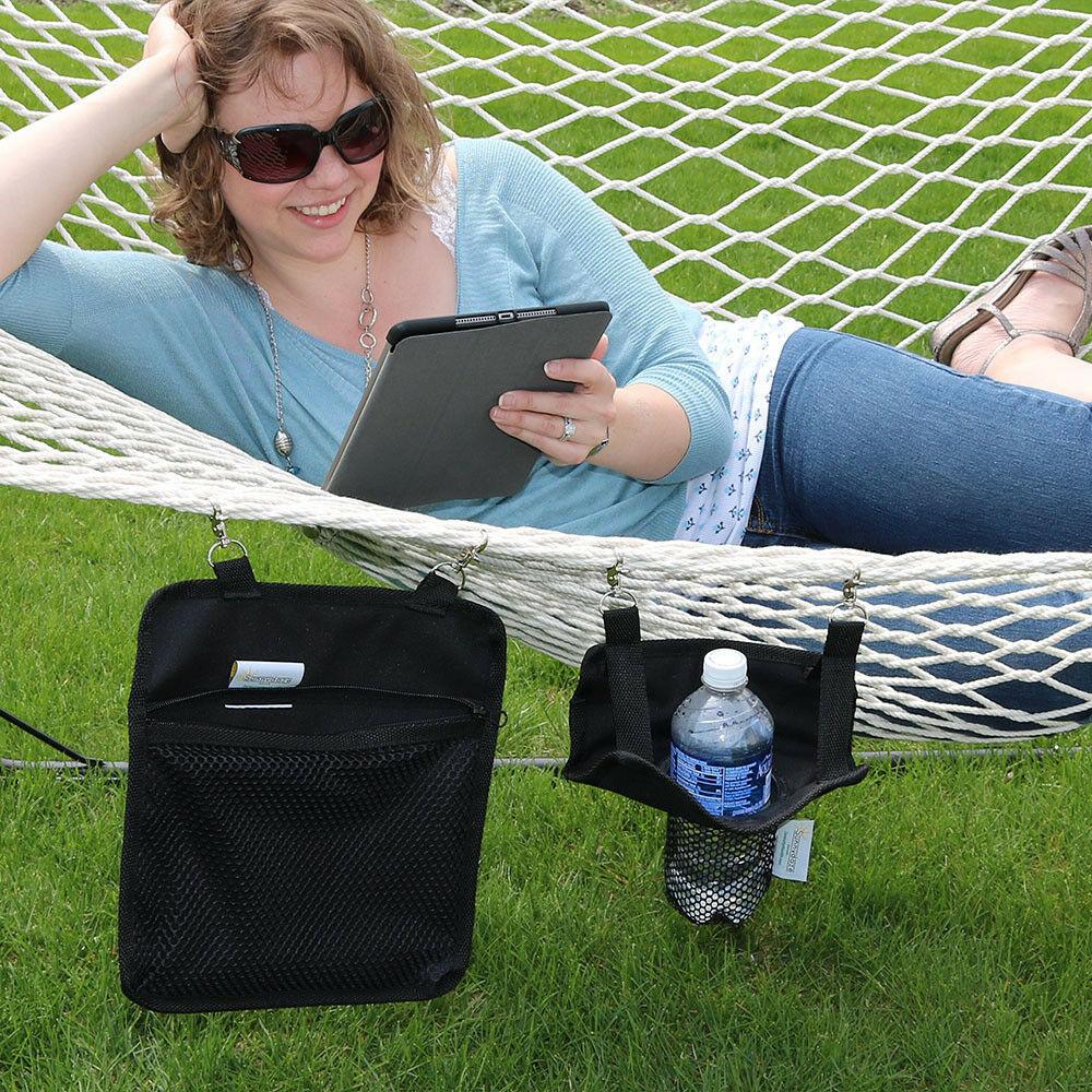 Sunnydaze Hanging Drink and Tablet Holder Set Accessory for