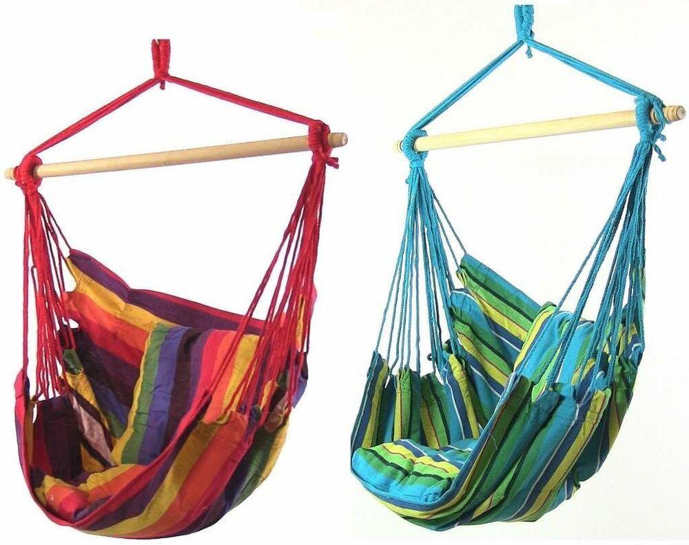 Sunnydaze Hanging Hammock Chair Swing - Ocean Breeze and