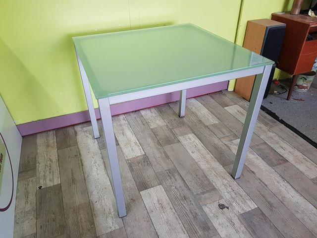 SALE NOW ON - Frosted Glass Topped Table With Metal Legs