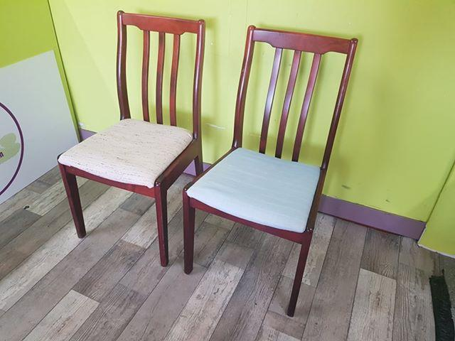 SALE NOW ON - Pair Of Dining Chairs For Reupholstery - Local