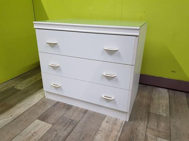 SALE NOW ON - White Bedroom Drawers With Glass Top