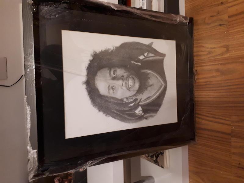 Framed original drawing bob marley