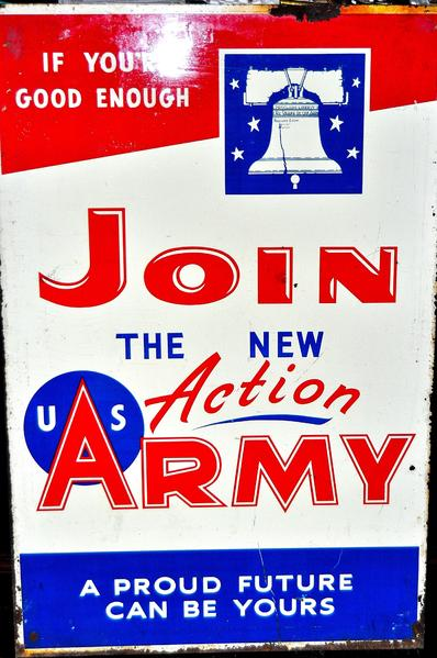 ORIGINAL DOUBLE SIDED ENAMAL SIGN FOR THE U.S. ARMY IN GOOD