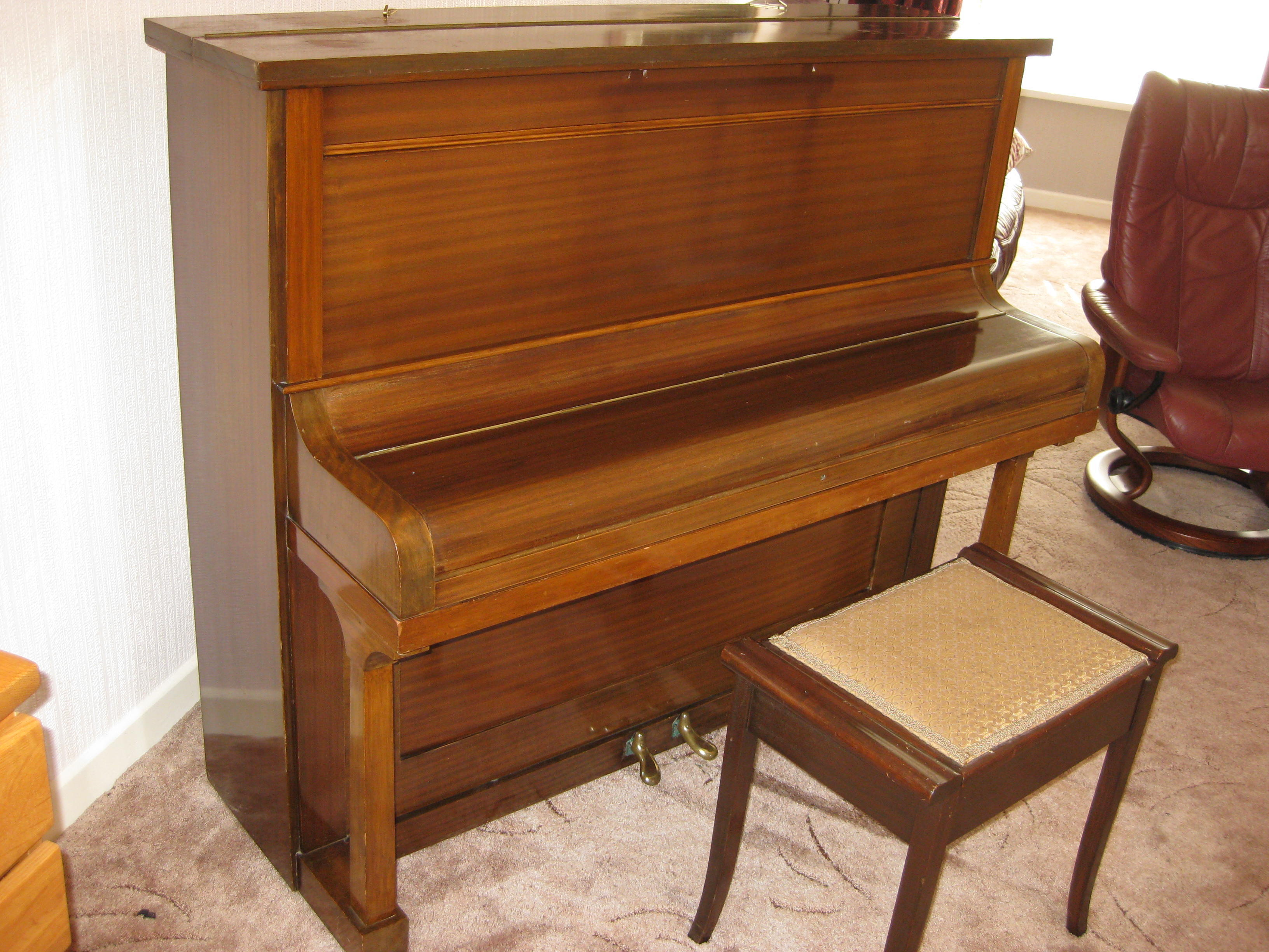 Free upright piano, stool and manuals
