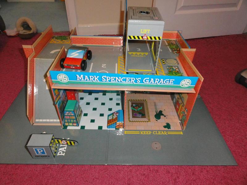 M&S Build your own cardboard garage, talking car wash/garage