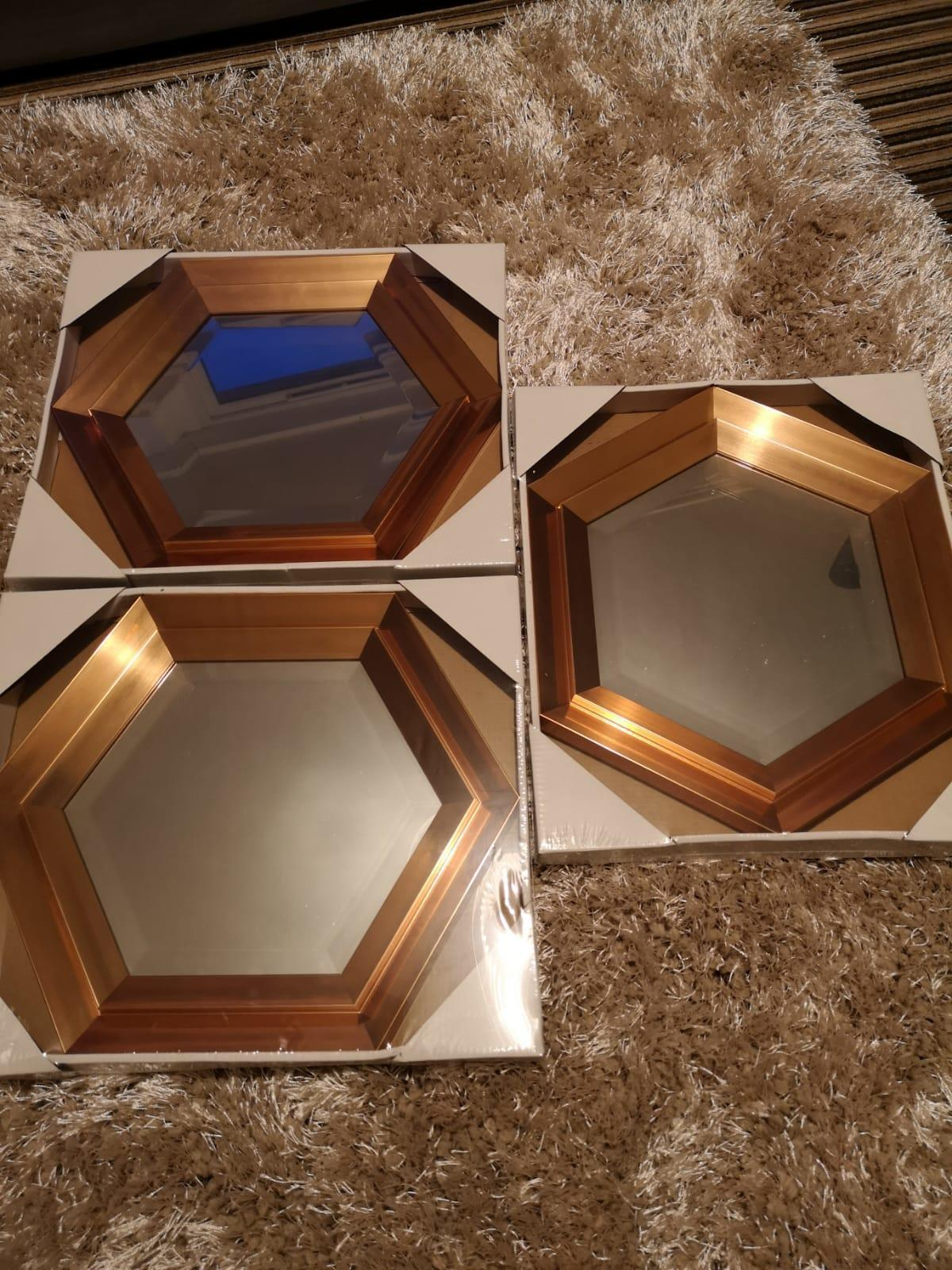 Set of 3 hexagonal copper Mirrors £40