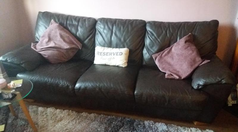Italian brown leather 3 seater sofa and 2 armchairs in good