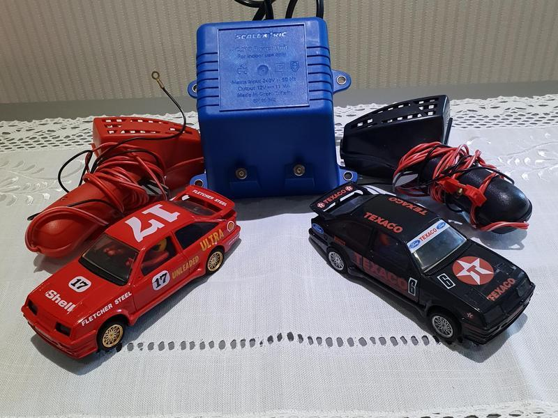 2 x Ford Sierra Cosworth Scalextric slot Cars + Extras:- See