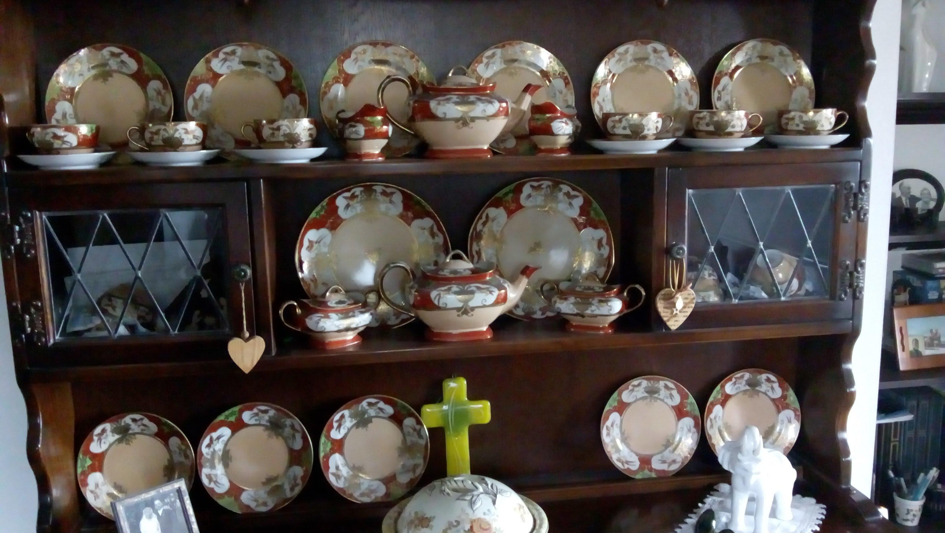 Beautiful hand painted Samurai Complete Tea Service