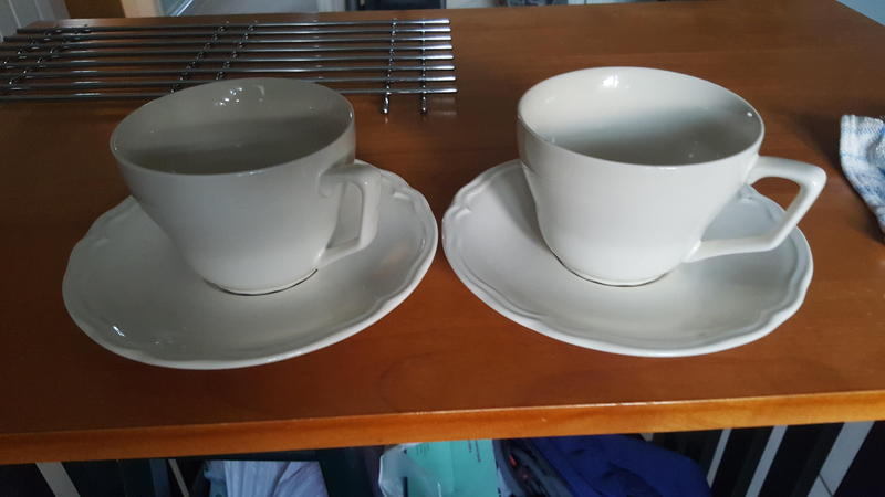 Set of two large Cups and saucers from IKEA in cream