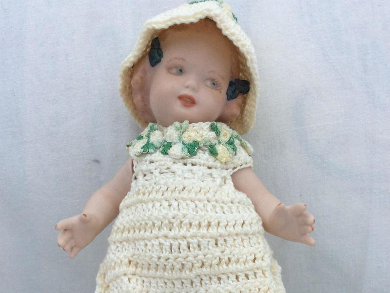 Vintage Collectable handmade porcelain doll 19cms
