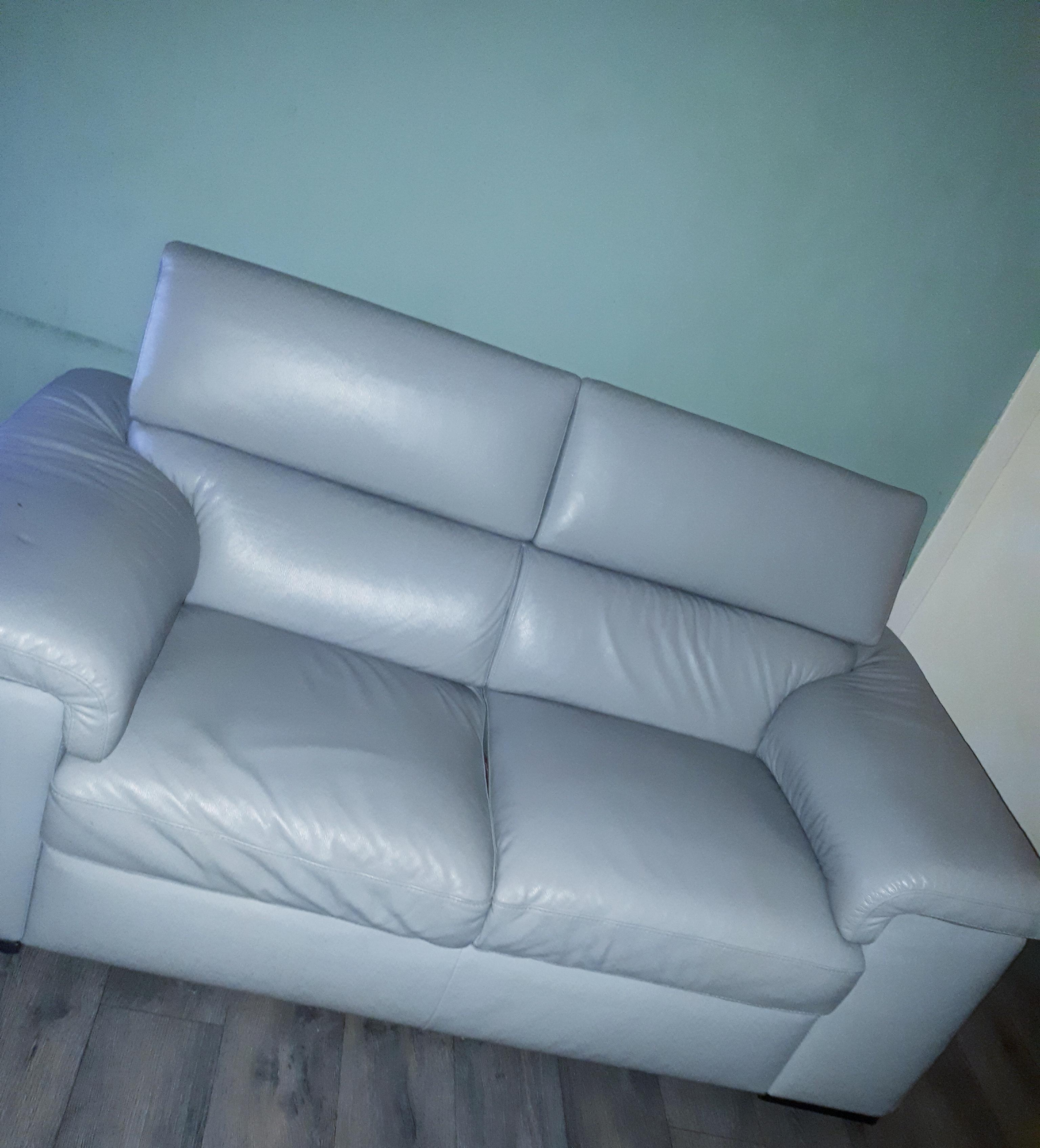 2x2 Grey Italian Bespoke Leather Sofas - Great Condition