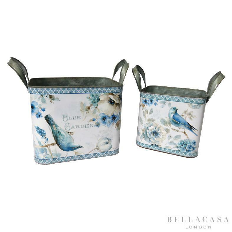 Set of 2 Shabby Chic Painted Tin Planters with Bird and