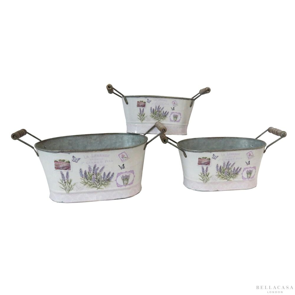 Set of 3 Shabby Chic Lavender Design Painted Tin Plant &