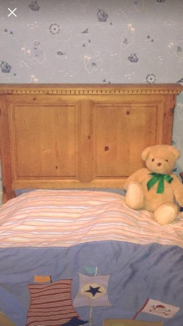 Stripped Pine Sleigh Bed