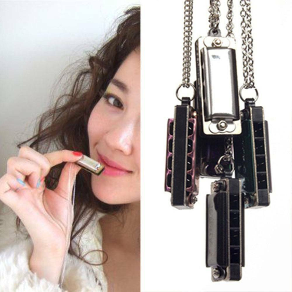1pcs Mini 4 Holes Harmonica Chain Necklace for Children Kids